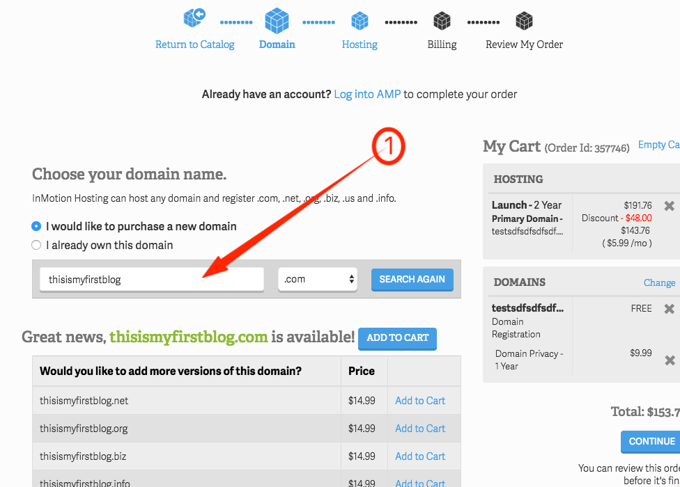 InMotion Hosting Selecting Domain Name
