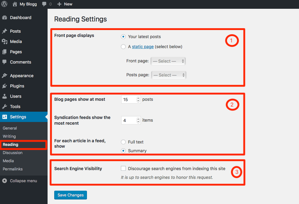 Reading Settings on WordPress
