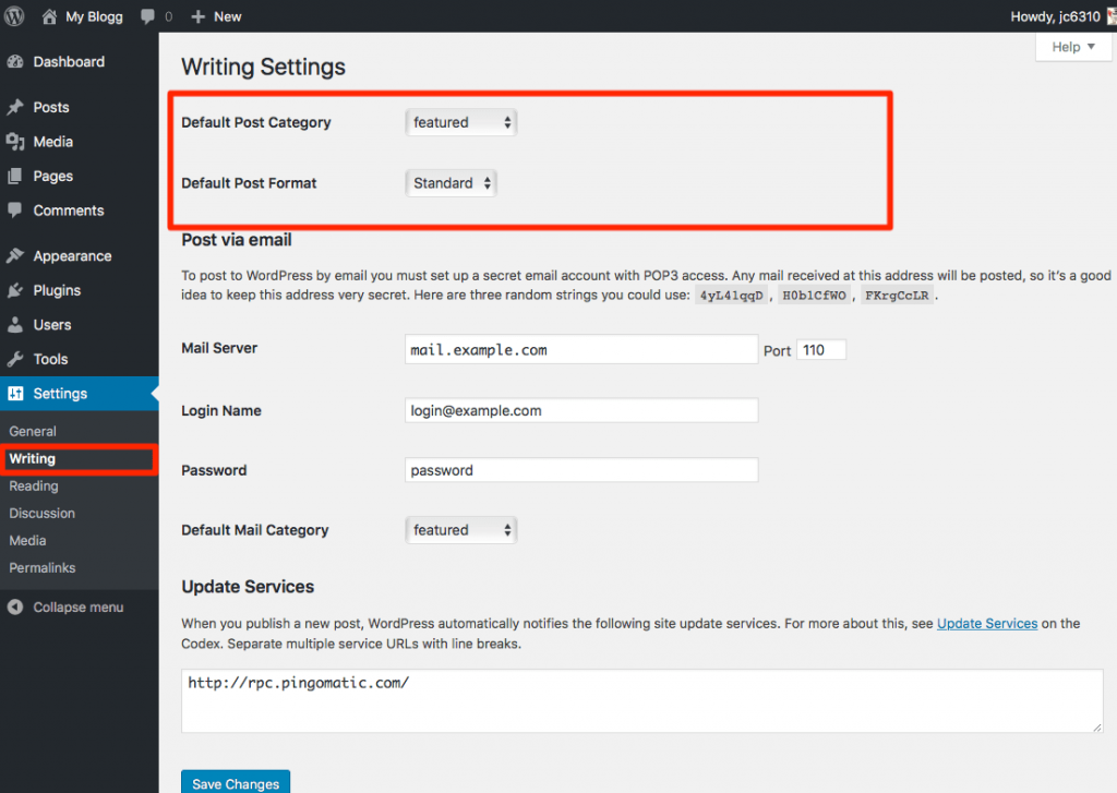 Writing Settings on WordPress