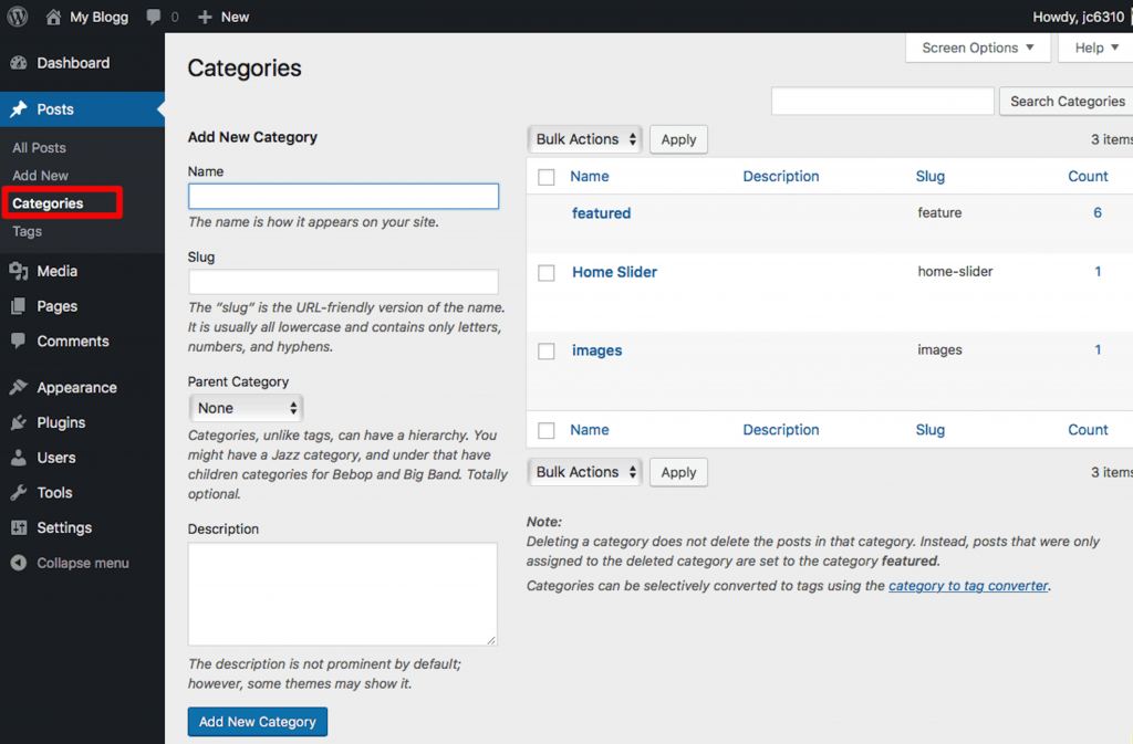 Creating Categories in WordPress