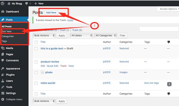 Add New Post on WordPress
