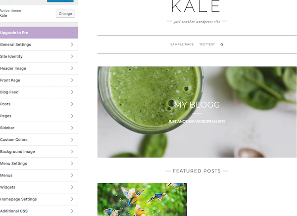 Kale WordPress Theme Customize