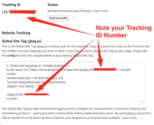 Google Analytics Tracking Number