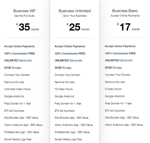 Wix Business Packages